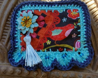 "Crochet textile brooch ""my beautiful red bird"""