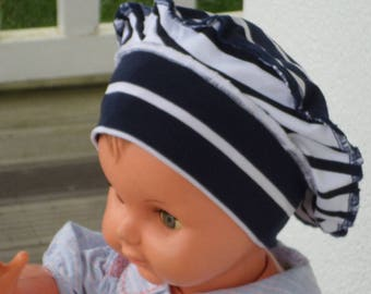 Hat designer hat for baby in white and Navy jersey