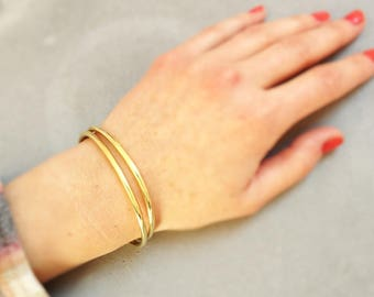 """Duo"" bracelet 2 rushes Golden shiny brass"