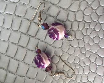 """""""Purple rose"""" earrings"""