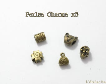 Set of 5 Charms antique bronze color metal beads
