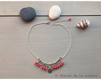 Ethnic coral necklace with charms Om̐ on large Tibetan Tibetan silver connector