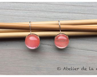 Silver earrings with rose cherry  quartz cabochon