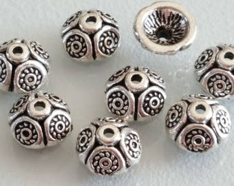 10 beautiful 9 x 6 mm silver dome cups
