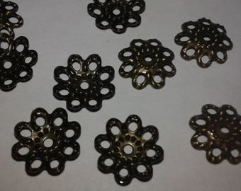 x 50 filigree bronze caps 10 mm