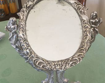 Silver plated and silver vanity mirror solid