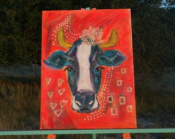 Southwestern Cow,18x24,acrylic painting on canvas,cow art,cow artwork,abstract wall art,southwestern wall art,southwestern wall decor