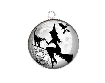 Cabochon resin cameo, 20 or 25 mm to choose from, Halloween, witch, broom, black cat, Moon