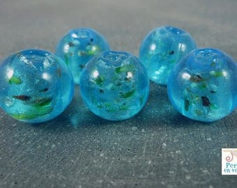 5 glass beads lampwork turquoise and multicolored chips, 14mm (pv318)