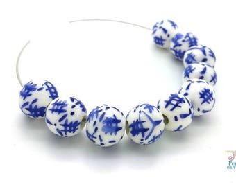 6 porcelain Chinese blue and white 10mm (pc162) beads