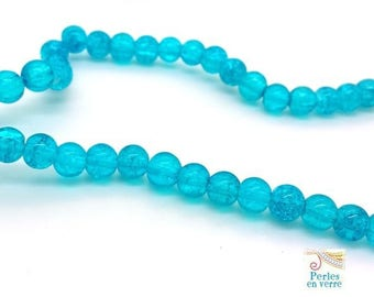 glass cracked turquoise beads 6mm (pv758) 20 beads