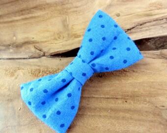 Hair clip blue bow with polka dots