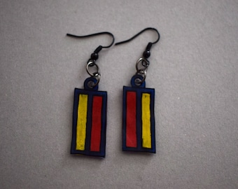 Earrings made of shrink plastic, colored rectangles