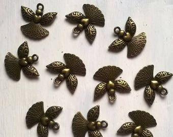 10 charms shaped Angels metal bronze