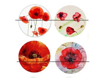 set of 4 Cabochons glass paste Coquelicot2 30 mm