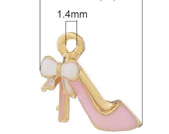 1 charm ENAMELLED 14x13mm rose bow heels