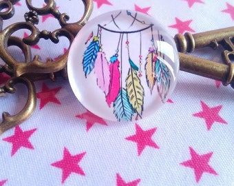 Feather 1 25 mm glass Cabochon set