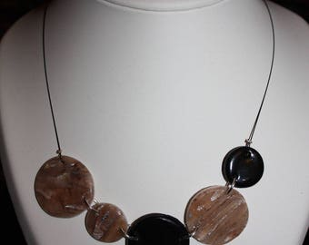 Necklace polymer clay and brown ink
