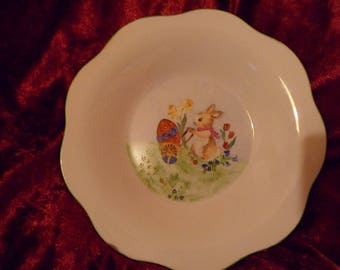 Kids personalized Easter Bunny pattern hand painted porcelain plate