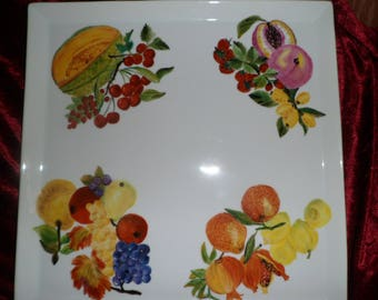 fruit pattern square serving dish