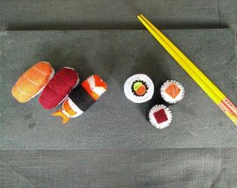 Set of sushi and maki felt Menu Mix