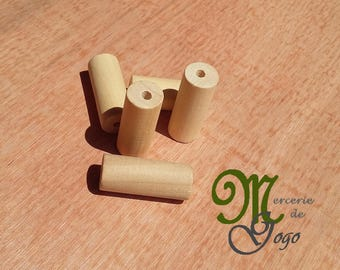Tube wood bead natural 3.5 * 1.5 cm.