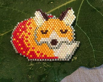 Sleeping Fox brooch