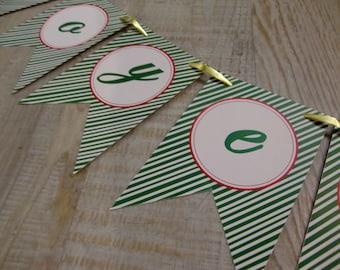 "MINI-Banderole ""Joyeux Noël"" - green stripes"