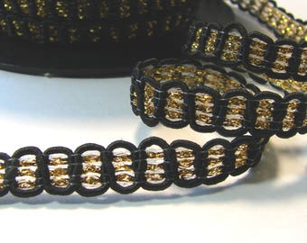 Ribbon, fancy, 9 mm, black and gold stripe, sold by the yard.