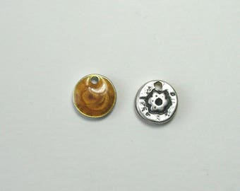 Sequin charm double sided, silver, 12 mm, yellow ocher.