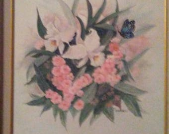 Original floral by E Brennels. Vibrant colors and contrasts