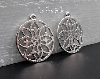 4 Buddhist mandala silver round Charms 24mm x 21mm Matt