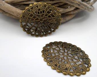 Prints 2 oval bronze metal rosettes