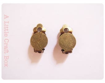 10 clip earrings / clip - antique bronze color
