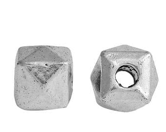 10 cubes faceted antique silver metal beads