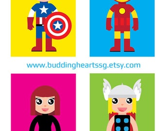 Superhero art prints/kids' room décor/superhero wall art/children's room art/Ideal for kids' rooms and birthday gifts and custom stickers