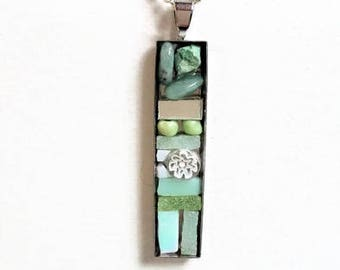 Silver rectangular pendant green mosaic necklace