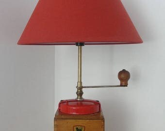 Coffee grinder turned object table lamp