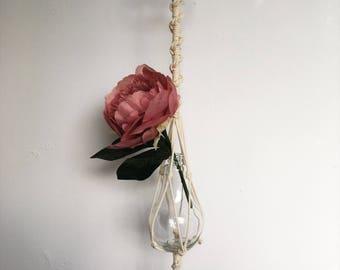 Natural rope macrame single flower light bulb vase with beaded detail