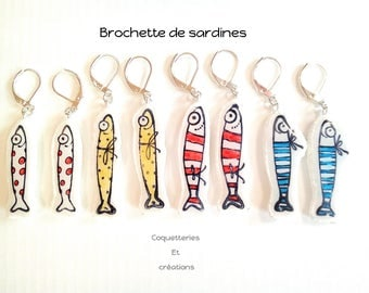 """""""Skewers sardines"""" earrings in polymer clay (Cernit, fimo, premo) red, white, blue, yellow"""