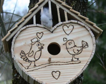 Wooden BIRDHOUSE a love nest for birds of the garden