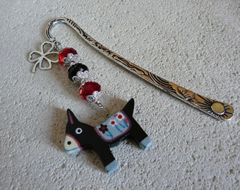 CRYSTAL BEAD BOOKMARK AND LITTLE DONKEY - NO. 1
