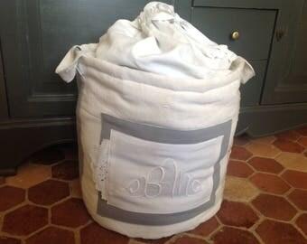 Pleas, old linen, napkin, grey and ecru handbag