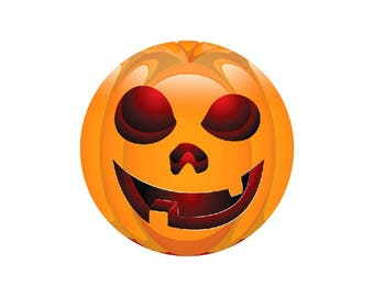 2 cabochons 20 mm glass Halloween Smiley Orange 1-20 mm
