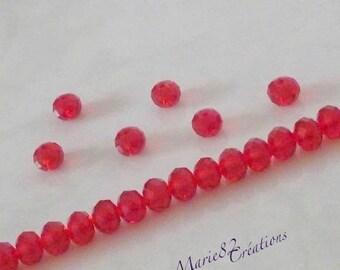 10 round glass beads & flattened 8 X 6 mm Red