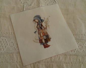 Vignette de tissu vintage 15 X 15 cm / à coudre ou coller / illustration fillette robe liberty