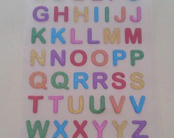 Multicolor alphabet sticker