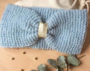 Claudia pink blue knit headband