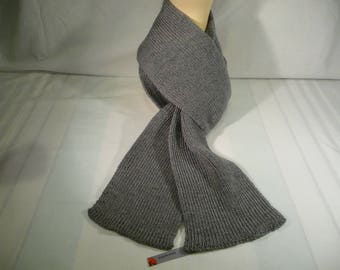 Acrylic knitted scarf, gray,