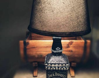 Jack Daniels Lamp, Custom Lamp, Black Lamp, Western Lamp, Glitter Lamp, Rhinestone Lamp, Theme Lamp, Gift Idea, Dorm Decor, Shabby Chic